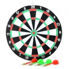 Wall Mounted Wood + Iron Dart Board w/ 4 Darts - White + Black