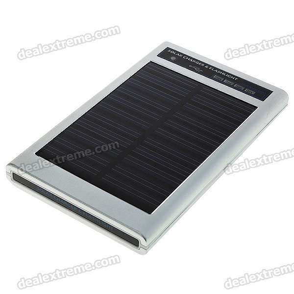 Solar Powered Self-Recharging 3-LED Flashlight + Phone Charger