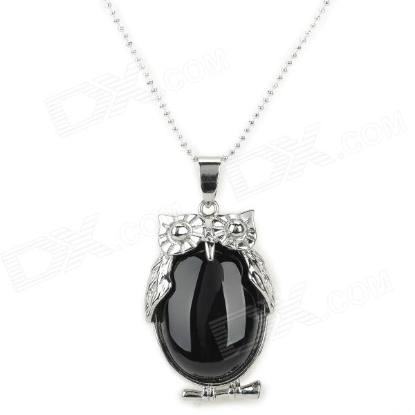HMN Owl Style Agate Pendant Necklace - Black + White stylish natural black agate necklace 43cm