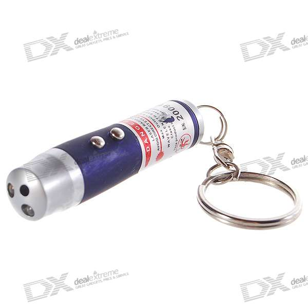3-in-1 5mW Red Laser + White Light + UV Light LED Flashlight Keychain (3 x AG13 / LR44)