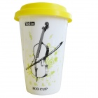 DEDO MG-397 Originality Ceramic Coffee Mug with Lid - White + Yellow (400ml)