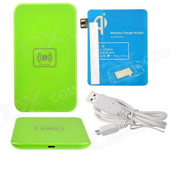 X5 Qi Standard Mobile Wireless Power Charger + Samsung N7100 Wireless Charger Receiver - Green +Blue