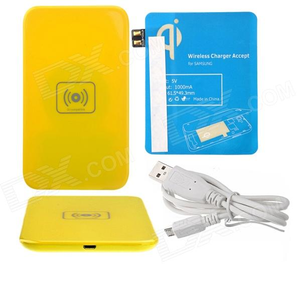X5 Qi Standard Mobile Wireless Power Charger + Samsung N7100 Wireless Charger Receiver - Yellow+Blue fulanka wireless charging back cover wireless receiver for samsung galaxy note 2 n7100 white