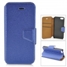 Silk Style Ultrathin Protective PU Leather + Plastic Case for IPHONE 5 / 5S - Blue