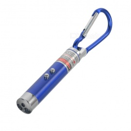 0.5mW Red Laser + 2-LED White Flashlight with Carabiner Clip