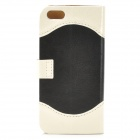 ZYEY-153 Protective PU Leather + Plastic Case for IPHONE 5 / 5S - White + Black