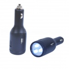 Dual USB 2.0 5V 2.1A / 1A Car Cigarette Lighter Charger w/ 3 LED Flashlight - Black (12~24V)
