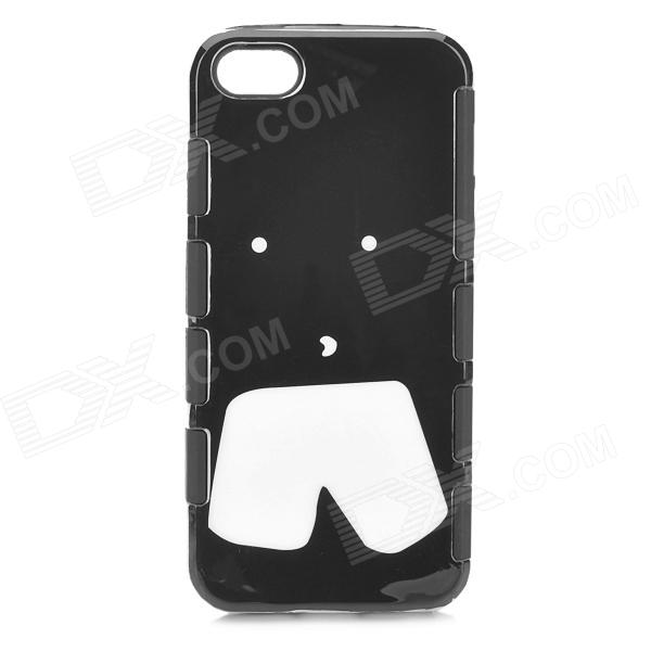 Detachable Shorts Style Protective Plastic + Silicone Back Case for IPHONE 5 - Black + White protective detachable plastic case for iphone 5 black