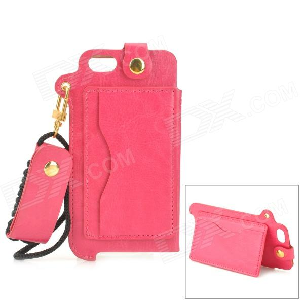 Sports Protective PU Leather Case w/ Card Holder Slot / Neck Strap for IPHONE 5 / 5S - Deep Pink stylish protective pu leather case w card holder slot for iphone 5 deep pink