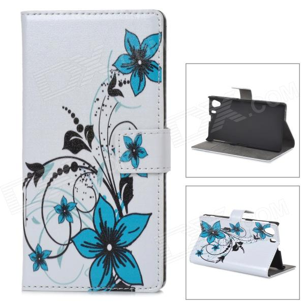 A-338 Flower Style Protective PU Leather Case for Sony Xperia Z1 L39h - White + Blue Madison поиск б.у