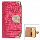 Stylish Protective PU Leather + Rhinestone Case for Samsung Galaxy S3 Mini i8190 / i8160 - Deep Pink