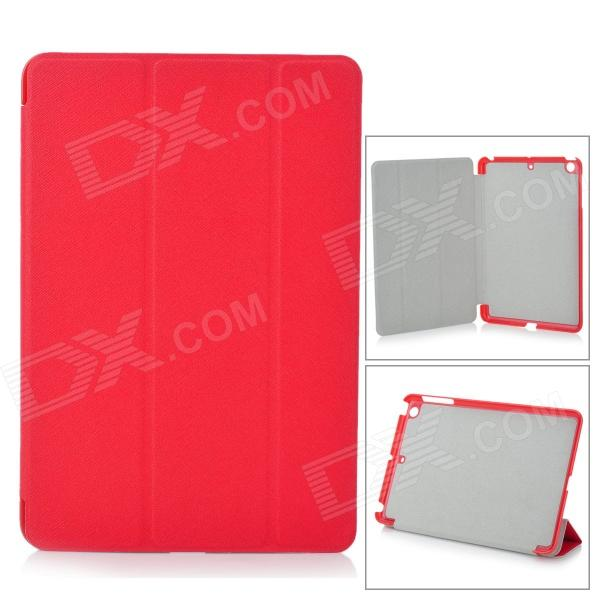 Protective PU Leather + Plastic Smart Case w/ Stand for IPAD MINI - Red grid pattern protective pu leather plastic case w stand auto sleep for ipad air red