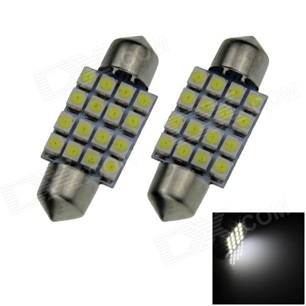 Feston 36mm 1.6W 140lm 16 x SMD LED 1 210 voitures de lecture / Toit lampe White Light / Dome - (12V / Pair)