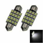 Festoon 36mm 1.6W 140lm 16 x SMD 1210 LED White Light Car Reading / Roof / Dome Lamp - (12V / Pair)