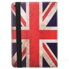 Retro UK National Flag Style PU + PC Case w/ Auto Sleep for IPAD Air - White + Red