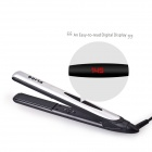 Professional Digital Tourmaline Ionic Flat Iron Hair Straightener w/ LED - Silver