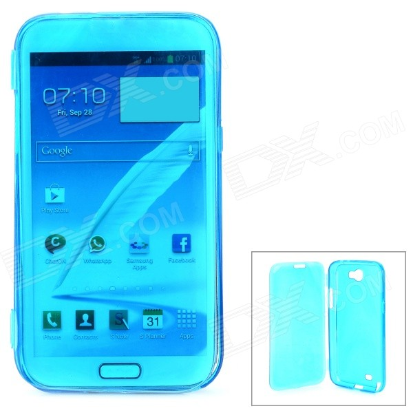 Protective Plastic Flip-Open Case for Samsung Galaxy Note 2 / N7100 - Translucent Dark Blue protective plastic back case for samsung galaxy note 2 n7100 translucent white
