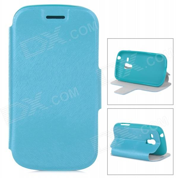 Protective PU Leather Case w/ Card Holder Slot for Samsung Galaxy Trend Duos S7562 - Blue интерактивная игрушка zuru роборыбка от 6 лет 2572а