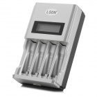 LSON MY-09 LCD Intelligent US Plug AA / AAA Battery Charger - Black + Silver