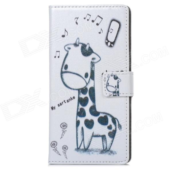 A-338 Cute Cartoon Giraffe Style Protective PU Leather Case for Sony Xperia Z1 L39h - White