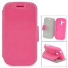 Protective Flip Open PU Case w/ Stand / Card Slots for Galaxy Trend Duos S7562 - Deep Pink