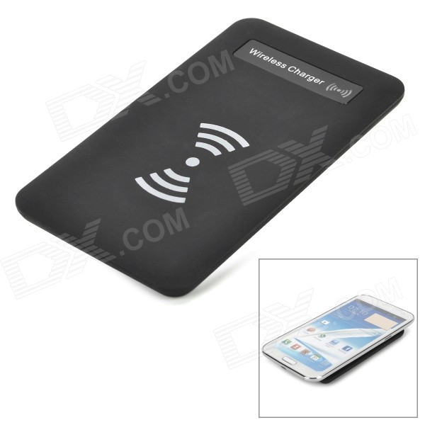 T1504 Qi Standard Wireless Transmitter Charger + Receiver for Samsung Galaxy Note 2 N7100 - Black fulanka wireless charging back cover wireless receiver for samsung galaxy note 2 n7100 white