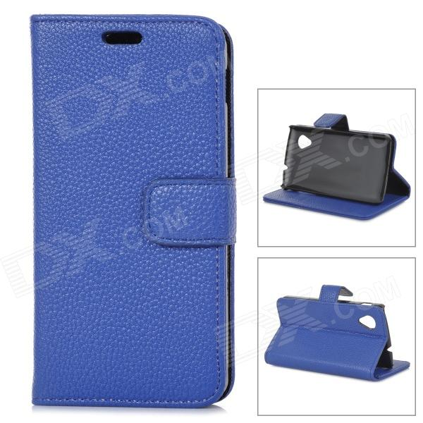 Lychee Grain Style Protective PU Leather Case for Google Nexus 5 - Dark Blue bp a lychee grain style protective pu leather plastic case for google nexus 5 lg e980 black