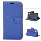 Lychee Grain Style Protective PU Leather Case for Google Nexus 5 - Dark Blue