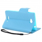 MLT LLS39H Protective PU Leather + TPU Case w/ Hand Strap for Sony S39h Xperia CN3 - Blue