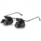 Eye Glasses Style 18X Magnifier w/ LED Light Jewelery Watch Repair Tool - Black