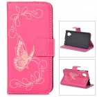 Butterfly Style Protective PU Leather Case w/ Card Holder Slots for LG Nexus 5 - Deep Pink