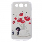 MGH-01 Rhinestone Flowers Style Protective PVC Back Case for Samsung i9300 - White + Red