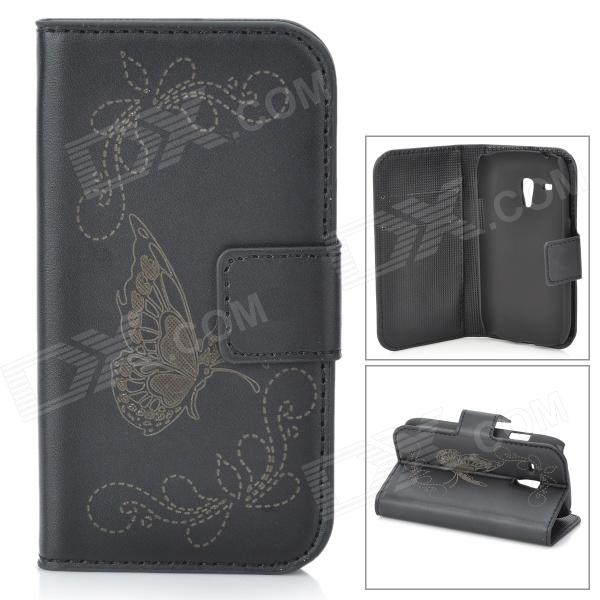 Butterfly Style Protective PU Leather Case for Samsung Galaxy S3 Mini i8190 / i8160 - Black cool snake skin style protective pu leather case for samsung galaxy s3 i9300 brown