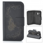 Butterfly Style Protective PU Leather Case for Samsung Galaxy S3 Mini i8190 / i8160 - Black