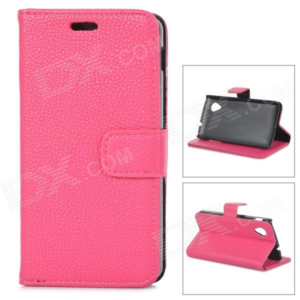 Lychee Grain Style Protective PU Leather Case for Google Nexus 5 - Deep Pink bp a lychee grain style protective pu leather plastic case for google nexus 5 lg e980 black