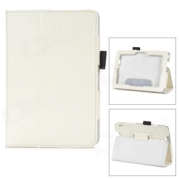 Protective Lichee Pattern PU Leather Case w/ Stylus Holder for Kindle Fire HDX 7 - White - DXTablet Cases<br>Color White Brand - Quantity 1 Piece Material PU leather Compatible Brand OthersAmazon Compatible Size 7 inch Style Business Compatible Model Kindle Fire HDX 7 Type Leather Cases Other Features Business case with stylus / pen holder convenient to use; Protect your device from scratch dust and shock; With stand provide great angle for viewing and typing Packing List 1 x Protective case<br>