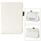 Protective Lichee Pattern PU Leather Case w/ Stylus Holder for Kindle Fire HDX 7 - White