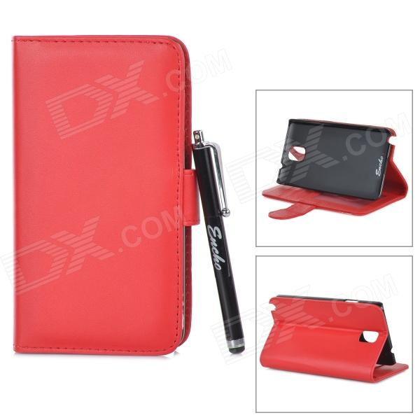 Protective PU Leather Case w/ Aluminum Alloy Stylus Pen for Samsung Note 3 N9000 - Red + Black enkay protective tpu back case w holder stand for samsung galaxy note 3 n9000 pink