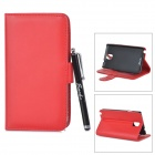 Protective PU Leather Case w/ Aluminum Alloy Stylus Pen for Samsung Note 3 N9000 - Red + Black