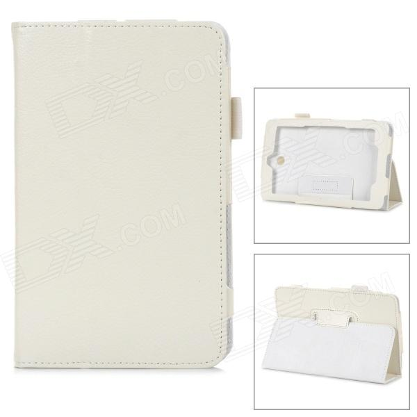 "Protective PU Leather Case w/ Stylus Holder for 7"" Dell Venue 7 - White"