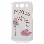 GFX-01 Rhinestone High-Heeled Shoes Pattern Protective PVC Case for Samsung i9300 - White + Pink