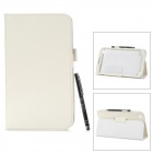 Protective PU Leather Case w/ Stylus for Samsung Galaxy Tab 3 / T311 / T310 - White