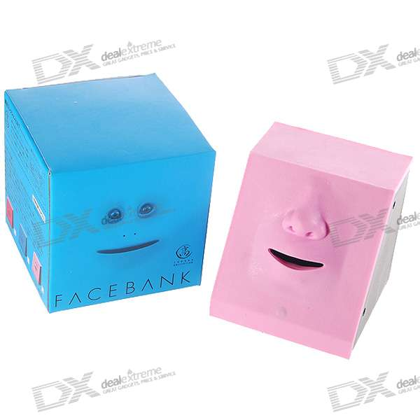 Money Swallowing Expression Changing Dynamic Face Coin Bank - Pink (2*AA)