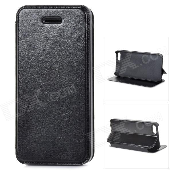 Protective PU Leather Case for IPHONE 5 / 5S - Black protective flip open pu leather case w belt clip for iphone 5c 5s 5 black