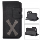 Cartoon Bone Style Protective PU Leather Case for IPHONE 4 / 4S - Black
