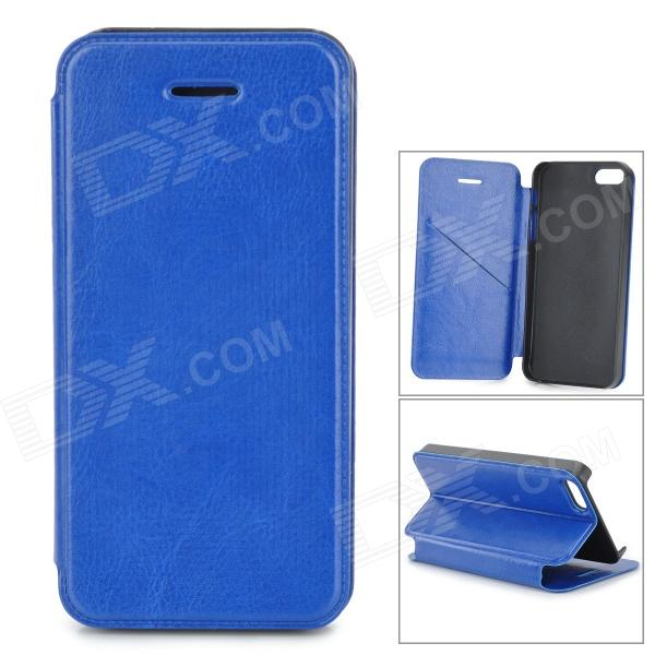 Protective PU Leather Flip Open Case w/ Stand / Card Slots for IPHONE 5 / 5S - Blue plaid pattern protective pu flip open case w stand card slots for iphone 5 5s white