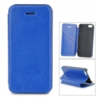 Protective PU Leather Flip Open Case w/ Stand / Card Slots for IPHONE 5 / 5S - Blue