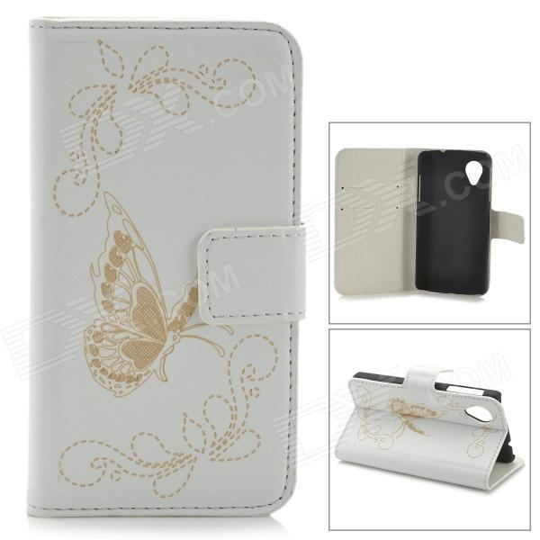 Butterfly Style Protective PU Leather Case for LG Nexus 5 - White - DXLeather Cases<br>Color White Brand N/A Model N/A Material PU leather Quantity 1 Piece Compatible Models LG Nexus 5 Other Features Protects your device from scratches dust and shock Packing List 1 x Protective case<br>