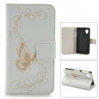 Butterfly Style Protective PU Leather Case for LG Nexus 5 - White