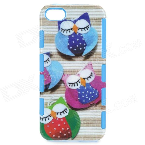 2-in-1 Owl Pattern Protetive Silicone + Plastic Back Case for IPHONE 5 - Blue + Pink + Multicolored